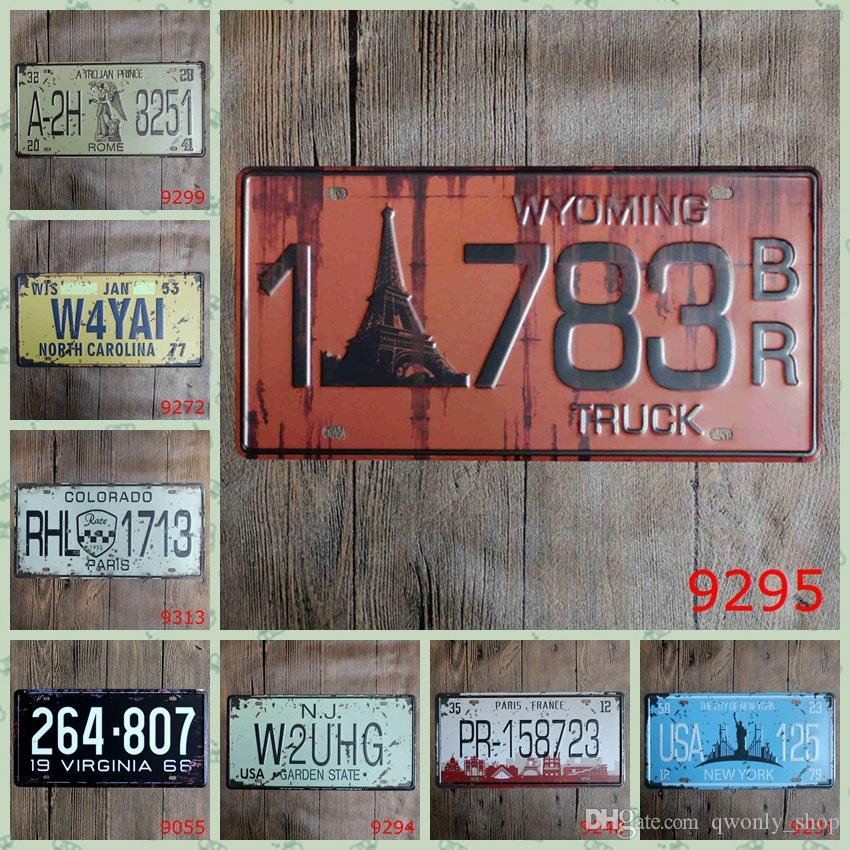 50 styles Beer License Plate Metal Painting Retro Tin Signs Vintage Wall Bar Ktv Coffee Home Art Decor 30X15CM