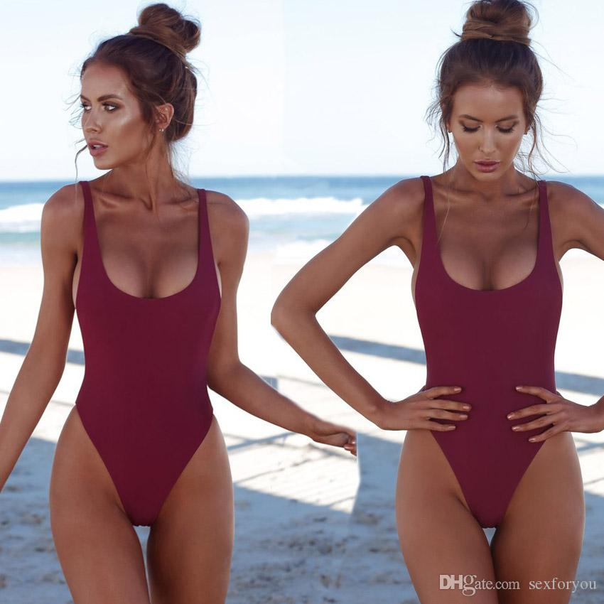 Tanga Negro Sexy Traje de baño de una pieza Sólido Mujer Mujeres Fusionado Traje de baño Sin respaldo Blanco Brasileño May Bather Monokini XL