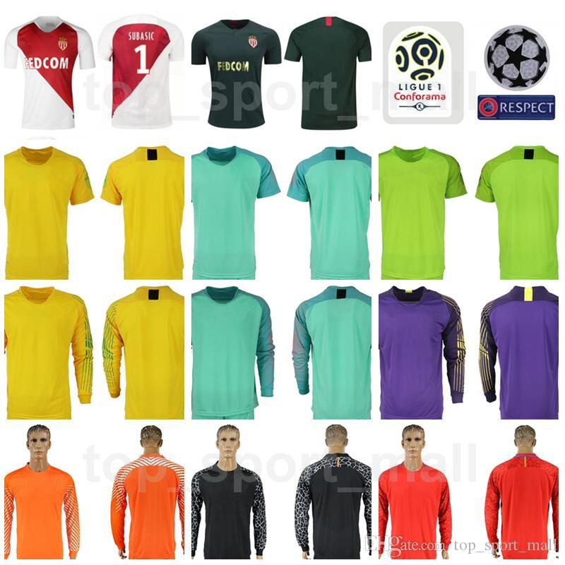 345df61d5 2019 Goalkeeper Ligue 1 AS Monaco Long Sleeve Jersey Men Soccer 1 Danijel  Subasic 30 Seydou Sy Badiashile Football Shirt Kits With Badges From ...