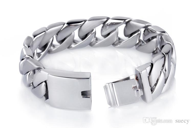 20mm de extensão Punk Rock 316L polido pulseira de aço inoxidável para Jóias Curb Homens Cor Prata cubana Fazer a ligação Unisex Femininos