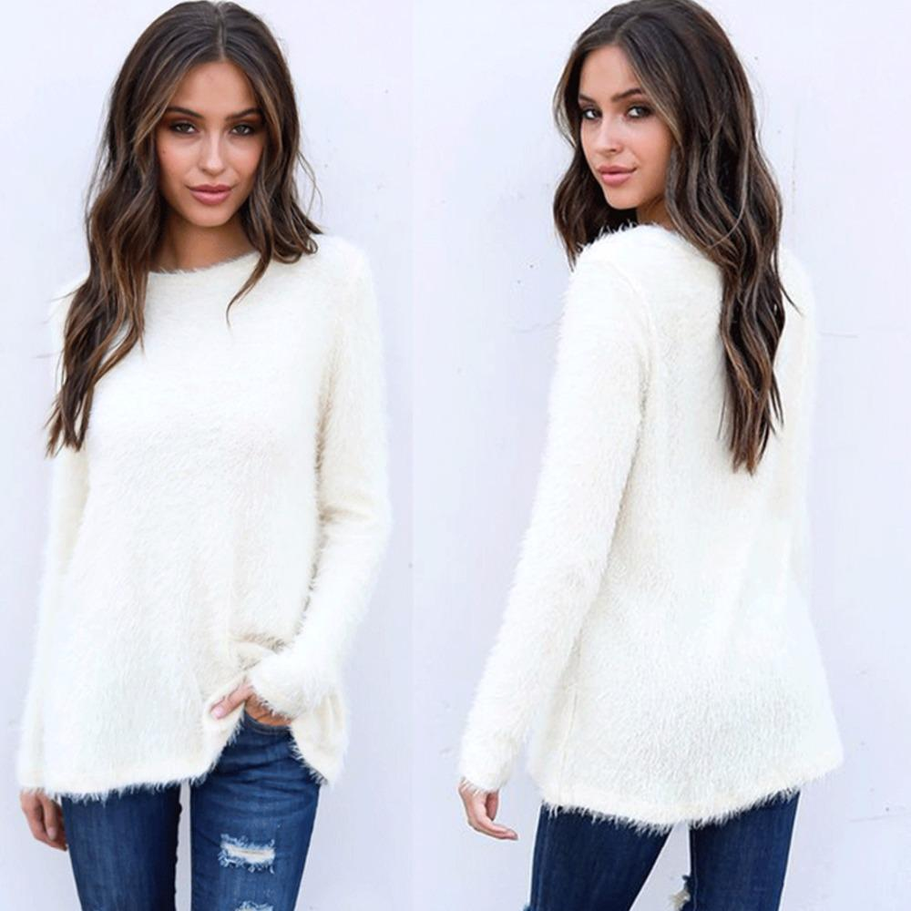 5be731253c5f 2019 Women Sweaters   Pullovers 2018 Knitted Long Sleeve Winter Tops Casual  Fluffy Mohair Sweater Sexy Warm Jumper Femme From Sugarlive
