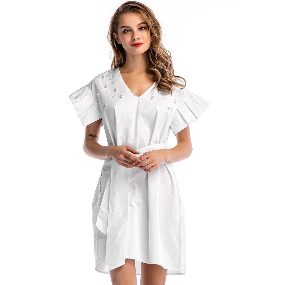baa52a07589e Moda mujer algodón rebordear mini vestido con cuello en V caída del hombro  volantes camisa vestido con cinturón cintura túnica vestido blanco ...