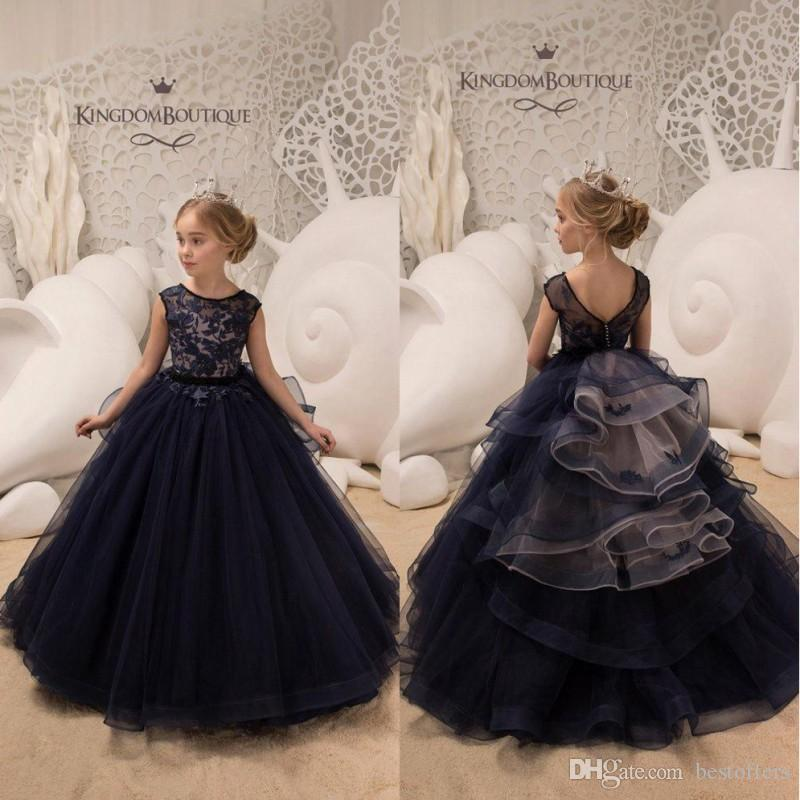 Dark Navy Jewel Neck Capped Sleeves Princess Flower Girl Dresses 2019 Lace  Appliqued Tulle Girls Pageant Gowns For Birthday Weddings BC0239 Pageant  Designs ... 8b5a72968709