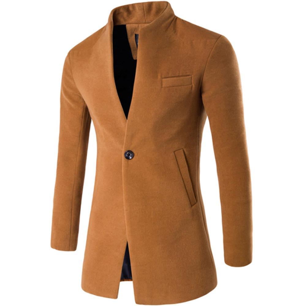 07f8e5a50ae Купить Оптом Мужская Одежда FeiTong Jacket Men Coat Streetwear Solid  Tailcoat Куртка С Подставкой Из Шерстяной Шерсти Отalfreld В Категории  Куртки