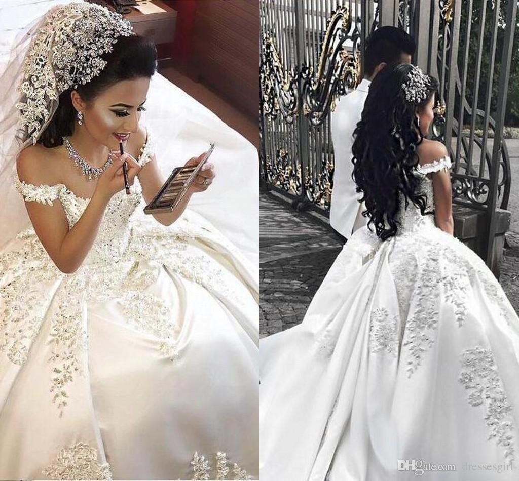 b27b4baac0365 Charming Ball Gown Wedding Dresses With Lace Appliques Beads Off The  Shoulder Saudi Arabic Wedding Dress Lace Up Back Satin Bridal Gowns Wedding  Dress ...