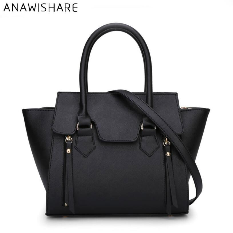 ANAWISHARE Women Leather Handbags Black Trapeze Totes Ladies ... 40de652ffc