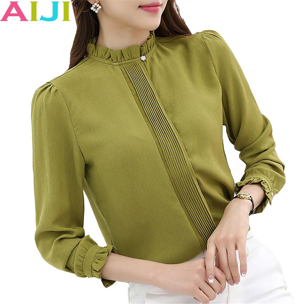 c748eb3831e7b 2019 AIJI OL Fashion O Neck Solid Blouses Women Elegant Slim Formal Long  Sleeve Chiffon Shirt Office Ladies Plus Size Work Wear Tops From Beltloop