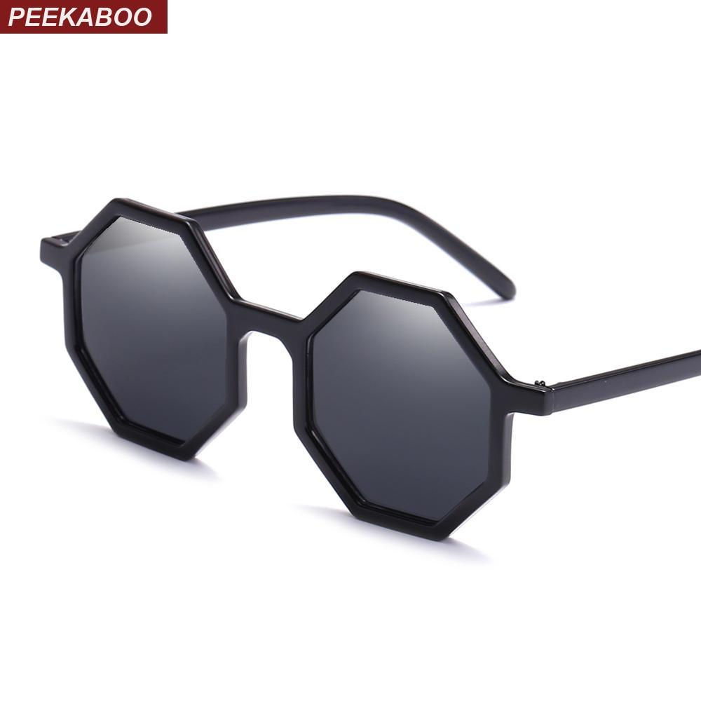 f48f003ba15ad Compre Peekaboo Preto Octogonal Óculos De Sol Das Mulheres Retro Vintage  2019 Barato Transparente Óculos De Sol Feminino Uv400 Festa Amarelo Azul De  ...