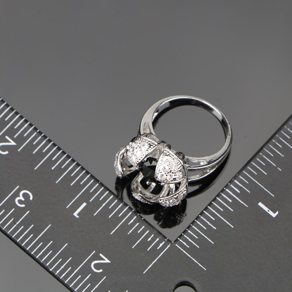 Femmes noir zircon cubique blanc CZ argent 925 ensembles de bijoux Bracelets / boucles d'oreilles / pendentif / collier / anneaux boîte à bijoux gratuit