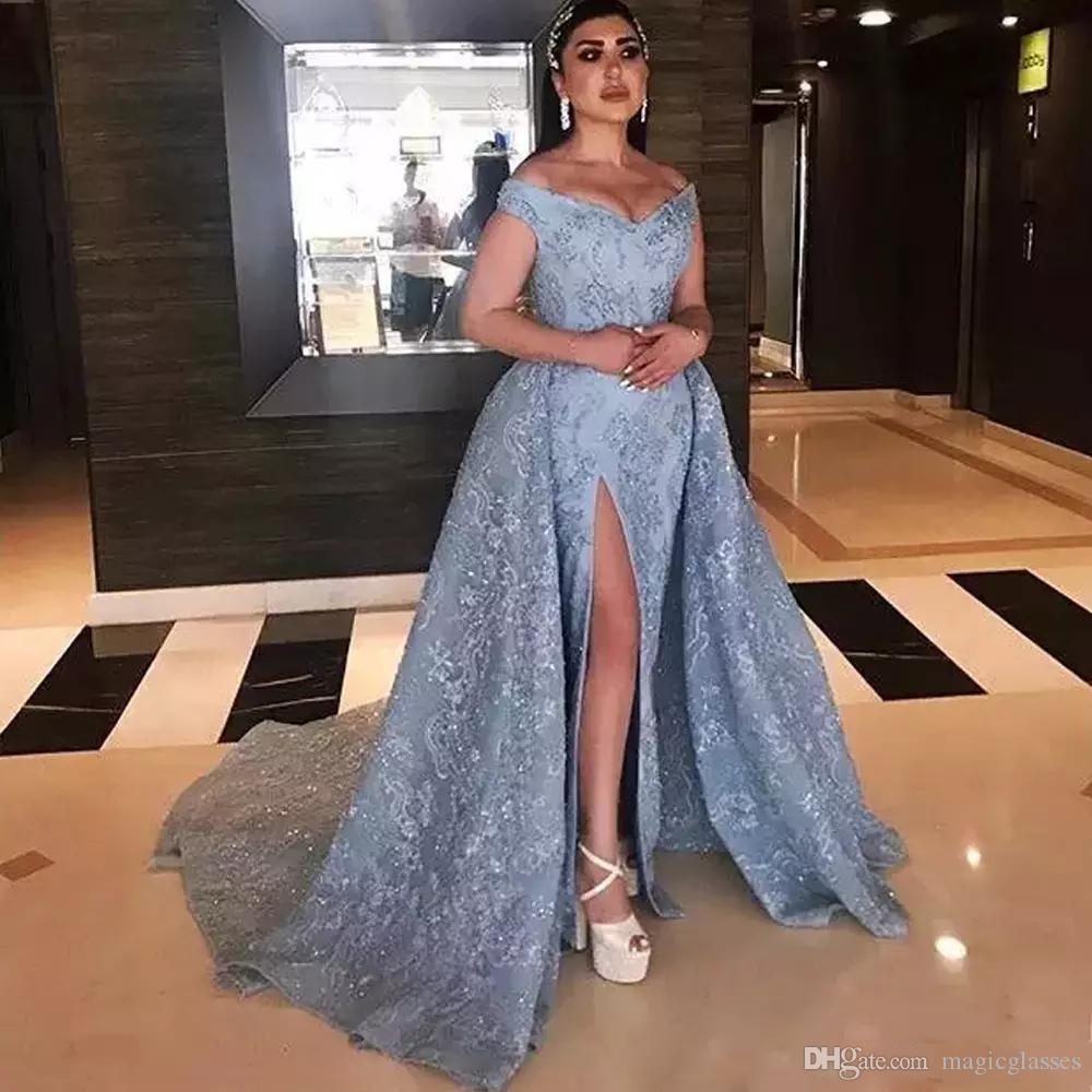 51f8eeed26 Gorgeous Dubai Mermaid Evening Dresses Off Shoulder High Side Split ...