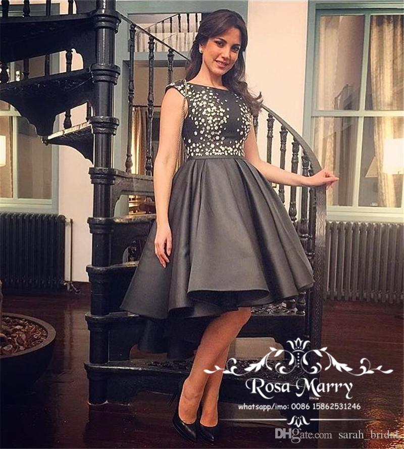 f3a6a40edfa90 Gothic Black Short Prom Dresses 2018 Ball Gown 3D Floral Plus Size High Low  Arabic Girls Evening Homecoming Cocktail Party Gowns Inexpensive Plus Size  Prom ...