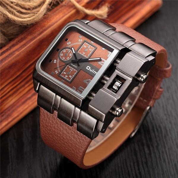 f80668d2c46 Compre Relógio De Quartzo De Luxo Homens Quadrados Dial Pulseira De Couro  Masculino Militar Antigo Relógio De Pulso De Cleanliness