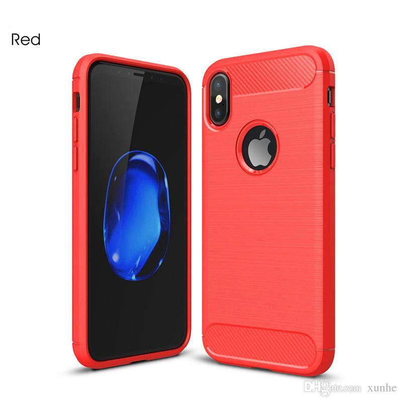 Para iPhone X 8 7 6S Plus Funda de fibra de carbono Funda de cuero para Samsung Note8 S8 Plus Armadura híbrida a prueba de golpes