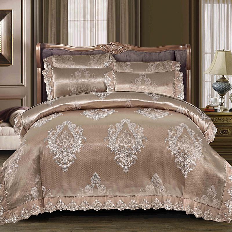 Attrayant Blue Brown Satin Jacquard Luxury Bedding Set Queen King Size Lace Bed Set  Bedroom Duvet Cover Bed/Quilt Sheet Set Soft Bedlinen