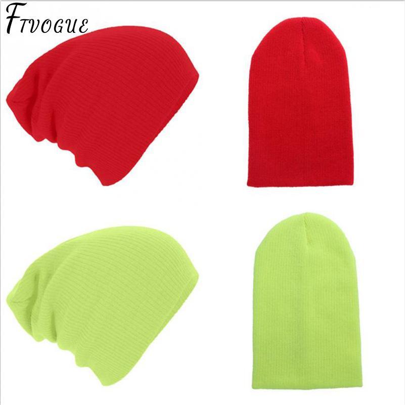 Compre Hombres Mujeres Gorro De Punto Invierno Otoño Cap Rojo Verde ...