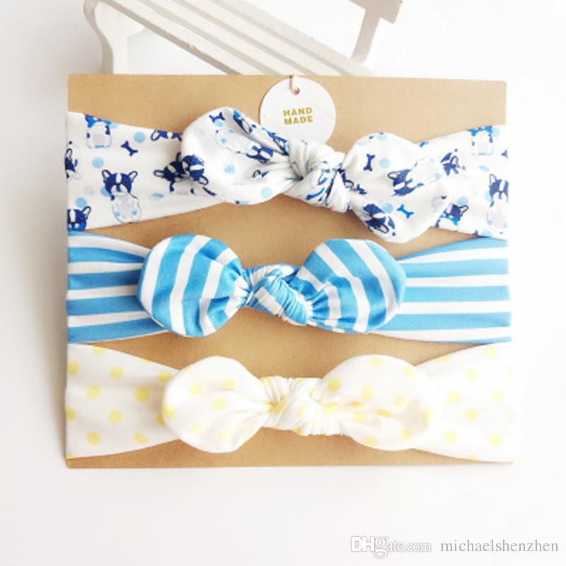 8 Estilo Baby girl Unicorn INS Accesorios para el cabello Diadema Nudo Arcos Banda de conejito Regalo de cumpleaños Flores Impresión geométrica 3 unids / set B001