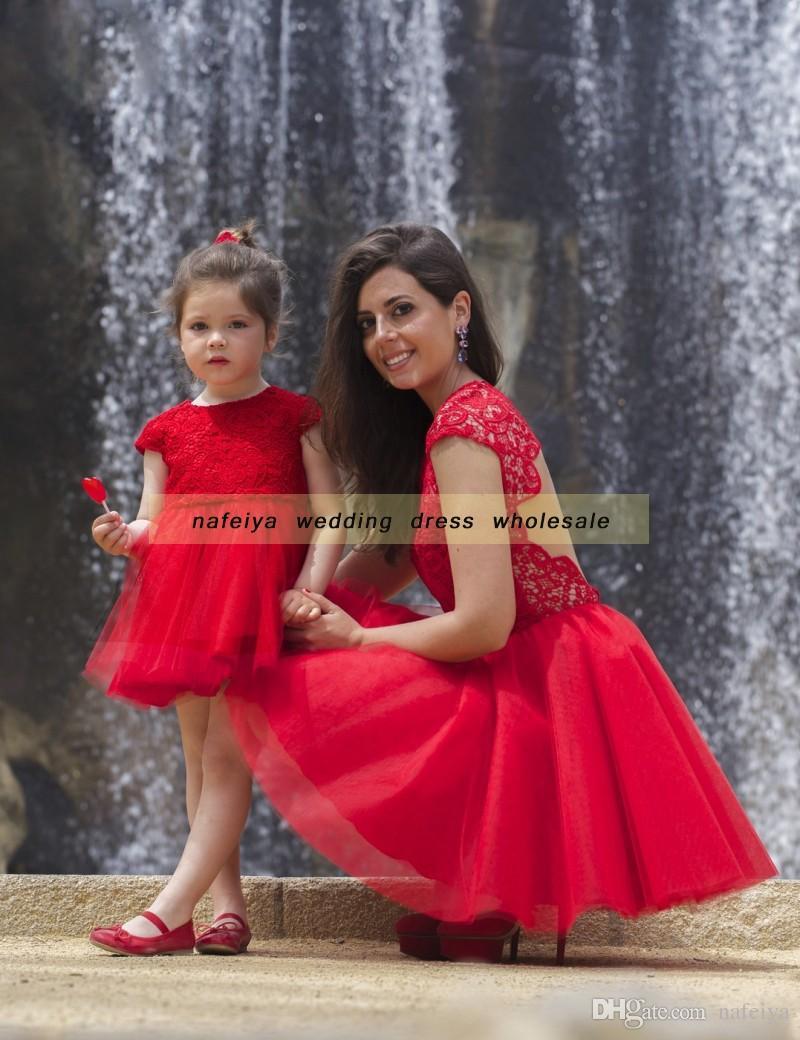 Großhandel 2018 Sagte Mhamad Crew Neck Red Blumenmädchen Kleid ...