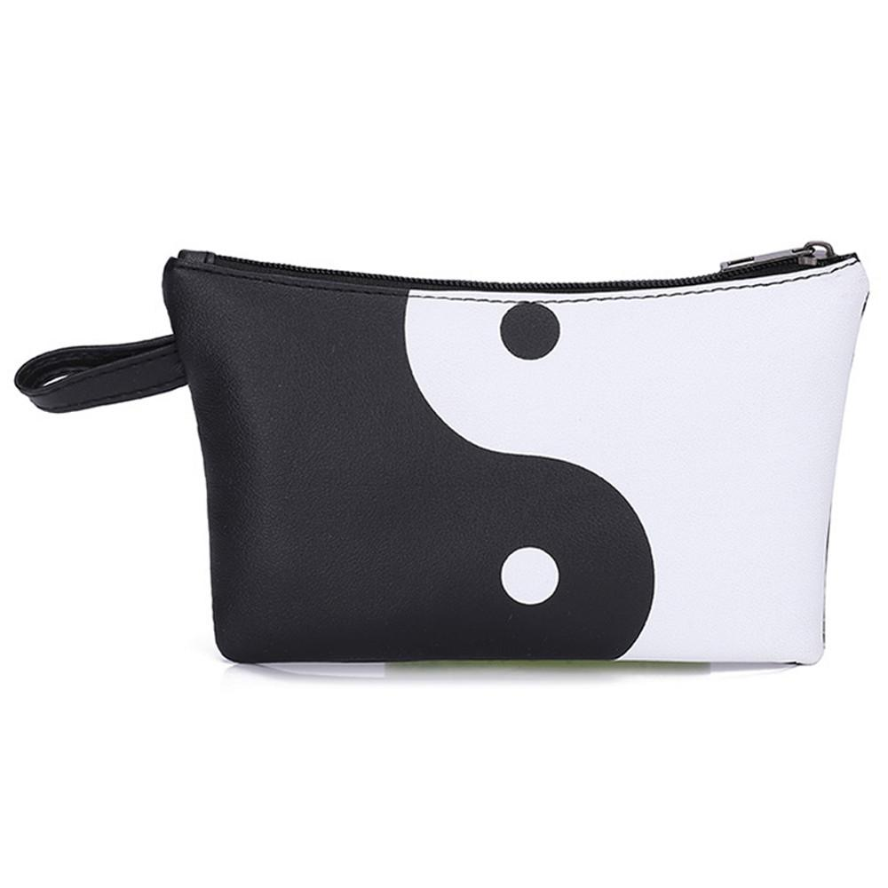 2018 Yin and yang Taiji diagram Women Fashion Leather Panelled Color Zipper Clutch Bag Coin Bag Makeup Pouch Chinese style