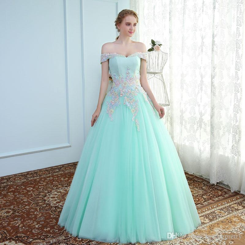 Janevini Light Sky Blue Long Prom Dresses 2018 Elegant Tulle A Line ...