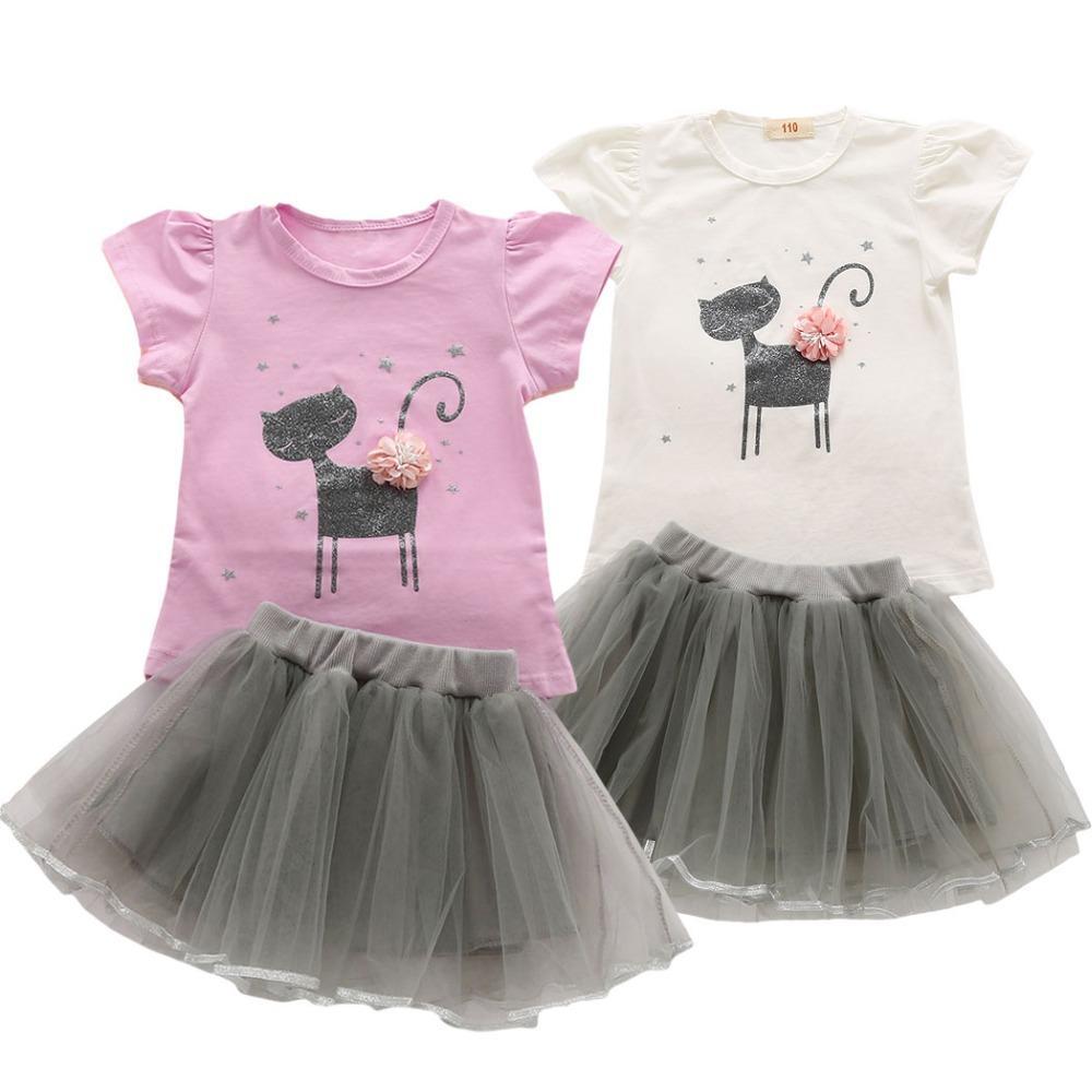 2018 Cartoon Cat Girls Summer Outfits 2018 Kids 3D Flower Kitten Clothes  Tutu Skirt For Girls T Shirt Fluffy Net Tulle Clothing Set