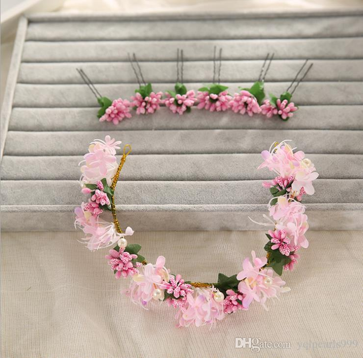 The new flower fairy hairpins headdress Pink Wedding Accessories Jewelry Headband