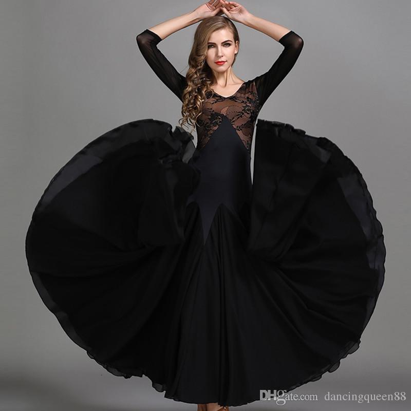 4b6fb8bc9 2019 Dance Black Lace Ballroom Waltz Dresses for Ballroom Dancing ...