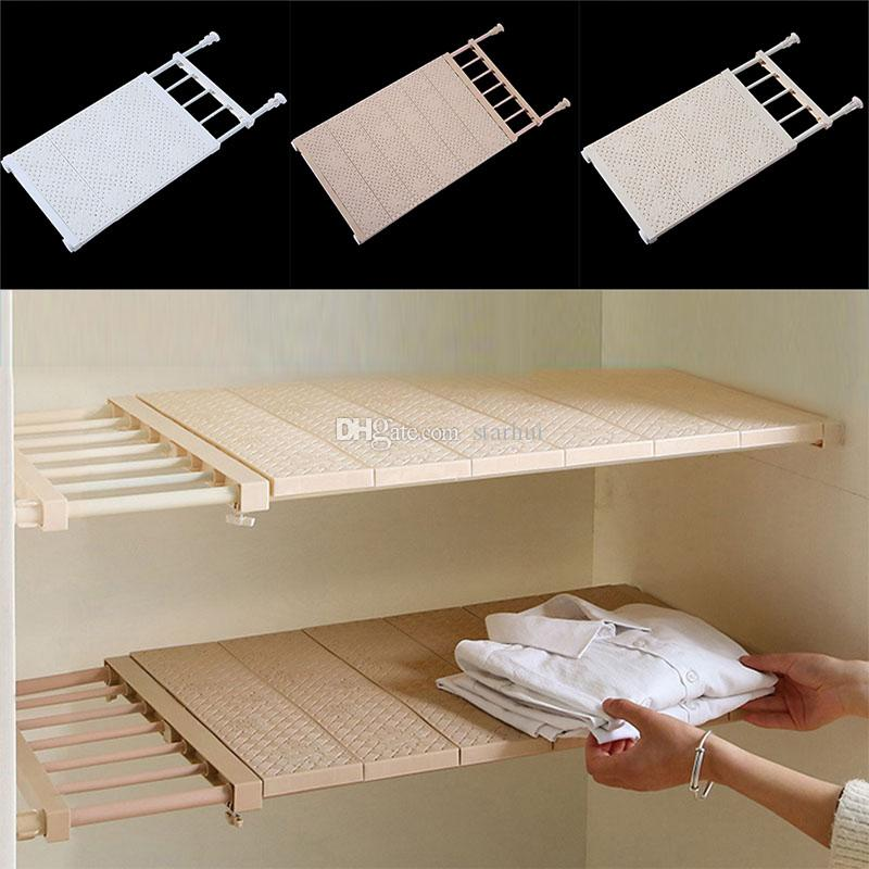 Adjustable Closet Organizer Storage Shelf Wall Mount Kitchen Cabinet Rack Space Saving Wardrobe Shelves Cabinet Holders 3 Color WX9-1080