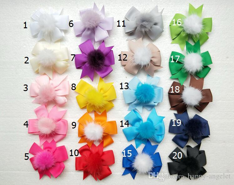 "20pcs 3"" Plain Hair Bows Clips with Ball For Kids Girls Boutique pompon Ribbon Hair Bow Classic Hair Accessories GR120"