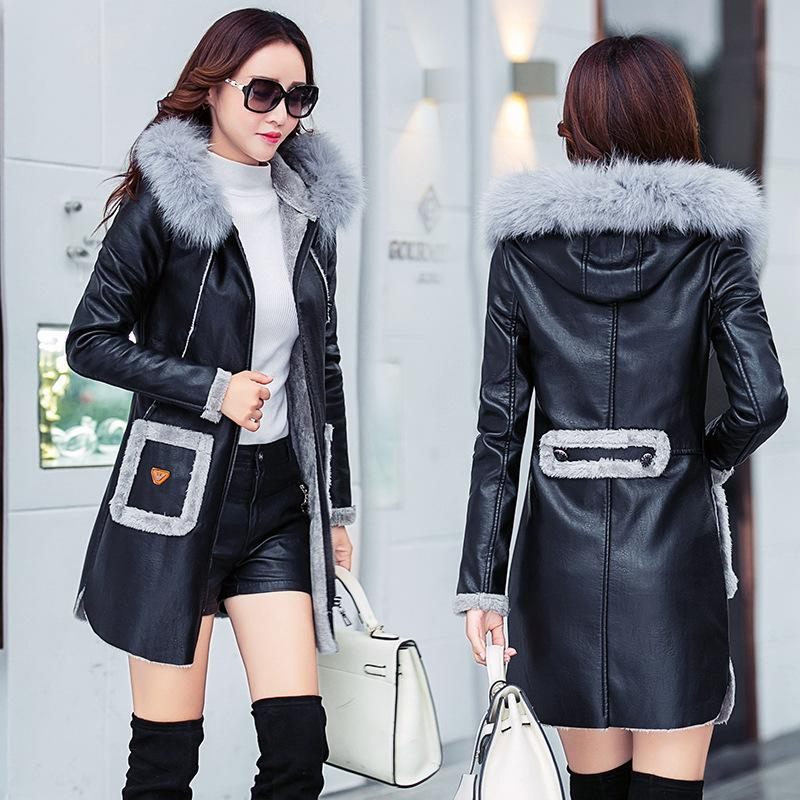 41f47b5ca1d 2019 Faux Sheepskin Coat 2018 Fashion New Autumn Winter Leather Jacket Women  Thick Warm Long Trench Coat Hooded Ladies Parka From Cactuse