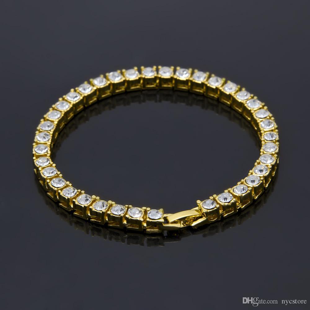 Мужчины обледенелые 1 строка стразы браслет мужской хип-хоп стиль ясно имитация Алмаз браслеты