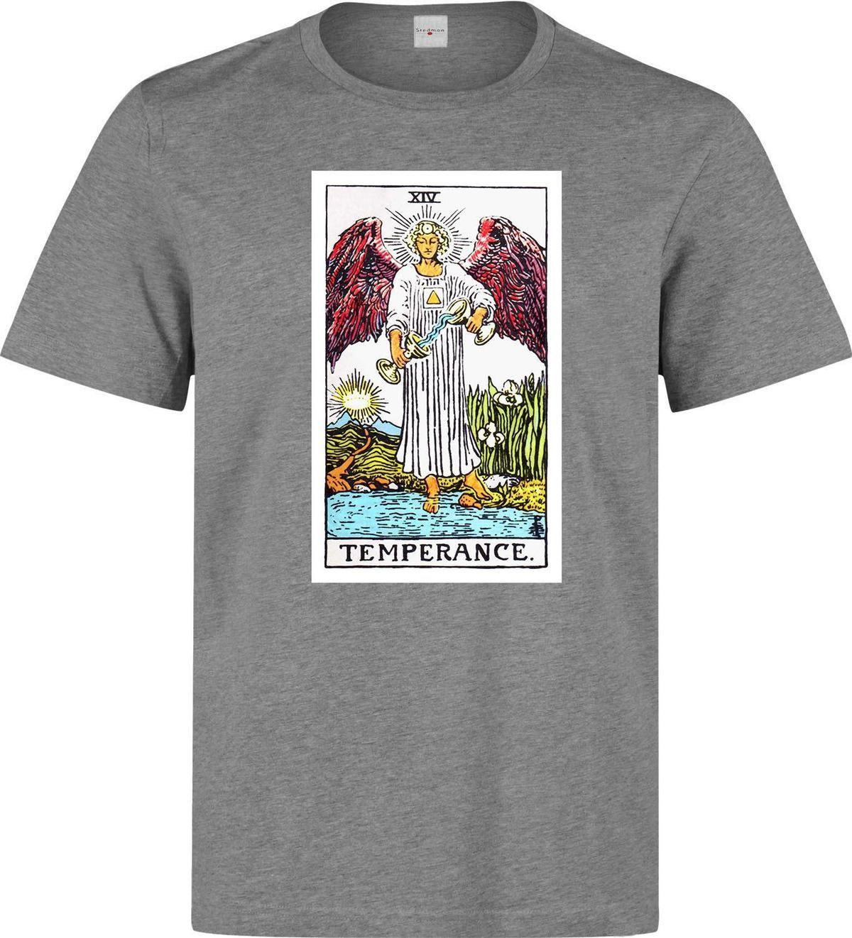 Temperance Tarot Card Art Logo Men s (woman s available) grey t shirt