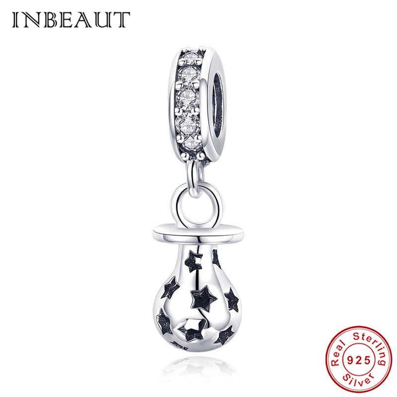 4567c1bf8 Pandora Style Women Necklace Pendant 925 Sterling Silver Cute Little Baby  Pacifier Carved Black Star Charm Beads Fit Trendy Bracelet Online with ...