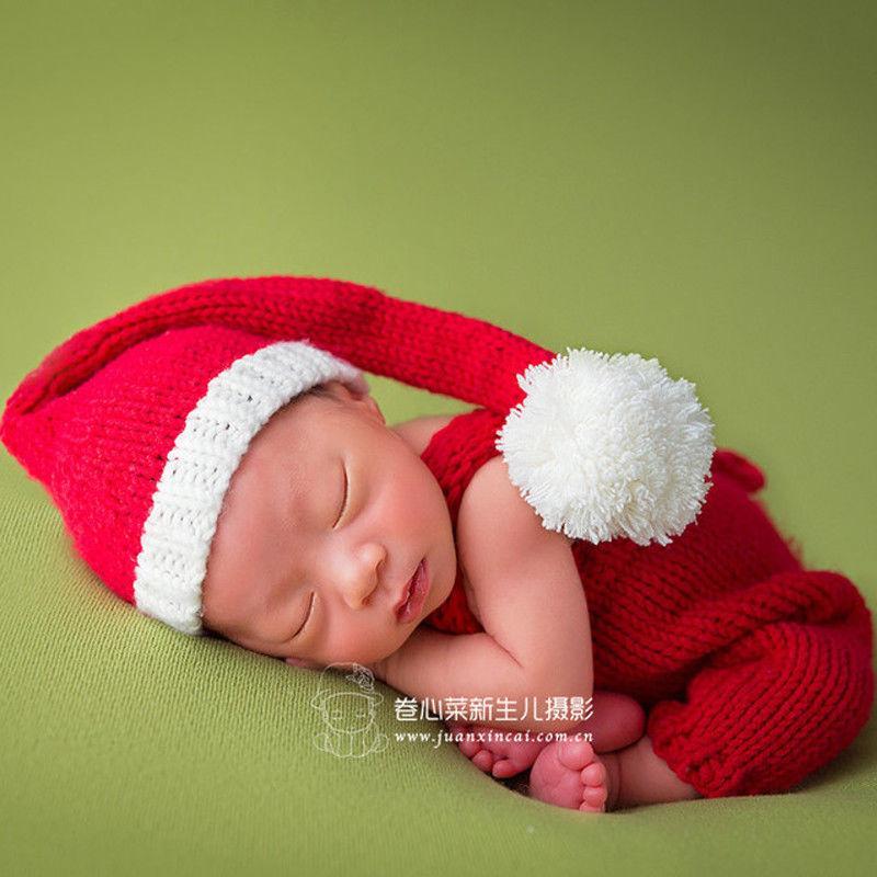 616809ba461d5 Acheter Infant Nouveau Né Photographie Accessoires Noël Mignon Santa Bébé  Vêtements Chapeau Crochet Costume 2017 Nouveau Bébé Accessoires Tricoté  Costume ...