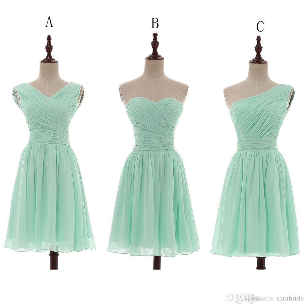 2018 Mint Green Pleated Short A Line Bridesmaid Dresses Knee Length ...