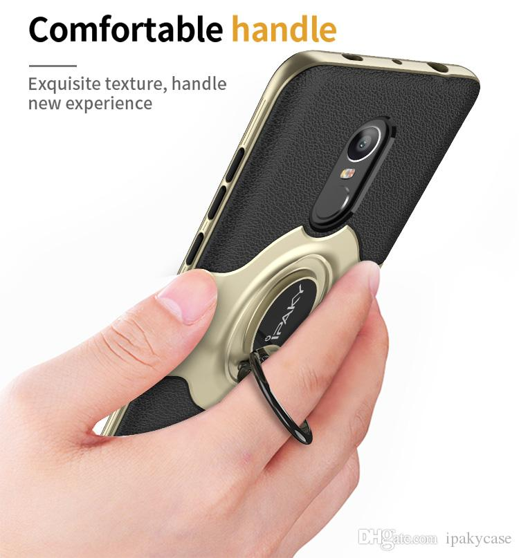 iPaky Case For Redmi Note 4X Ring Stand Holder Back Cover PC+TPU Drop-proof Cases With Vehicle Magnetic function Retail Package In Stock