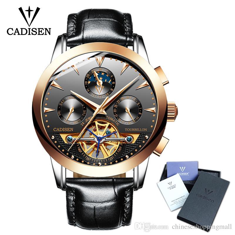 df7dcac7d19 Compre 2018 Novo Cadisen Homens Relógio Esqueleto Mecânico De Couro Automático  Relógio De Pulso Homens Moda Negócios Relógios Masculino Top Marca De Luxo  30 ...