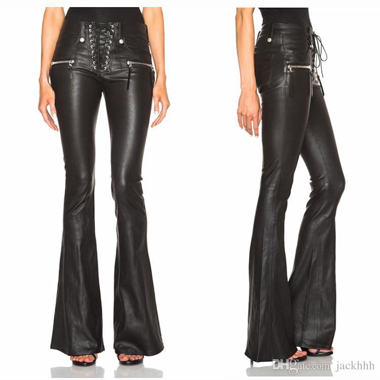 ed2108658469 Acquista Pantaloni Classici Da Donna Fashion Brand Designer Pantaloni Da Donna  Pantaloni In Pelle Con Coulisse Pantaloni A Zampa Nera A $63.32 Dal Jackhhh  ...