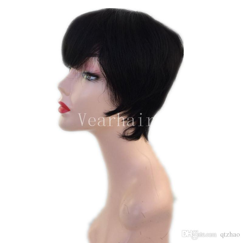 100% Human Hair Short Black machine made Wigs Short Pixie Wigs Glueless Short Cut Wigs for Women can be washed and curled