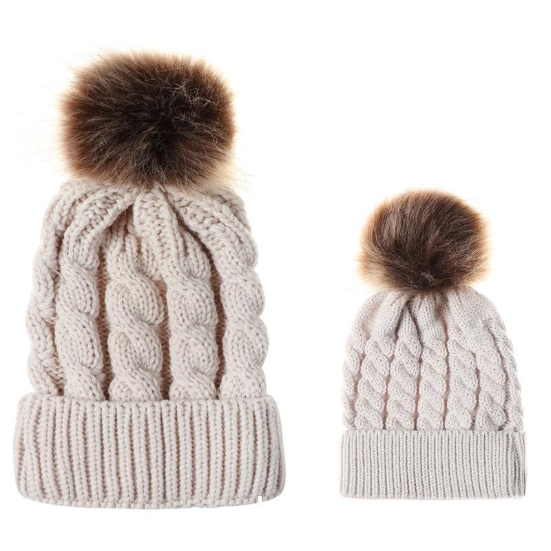 840e9b6acad Fashion Candy Colors Mom And Baby Knitting Warm Hat Set Women Winter Hat  Family Matching Outfits Mom And Me Hats 3 Headwear Beanies For Men From  Clintcapela ...