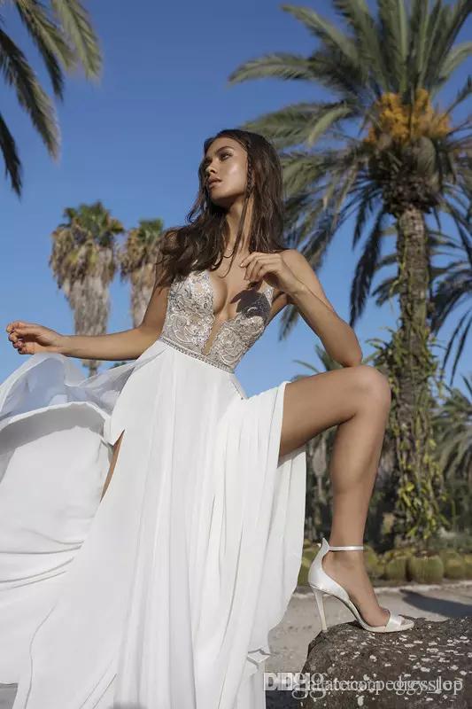 Asaf Dadush Boho Robes De Mariée Appliques Paillettes Perlé Côté Split Plage Robes De Mariée En Mousseline De Soie Plus La Taille Robe De Mariée