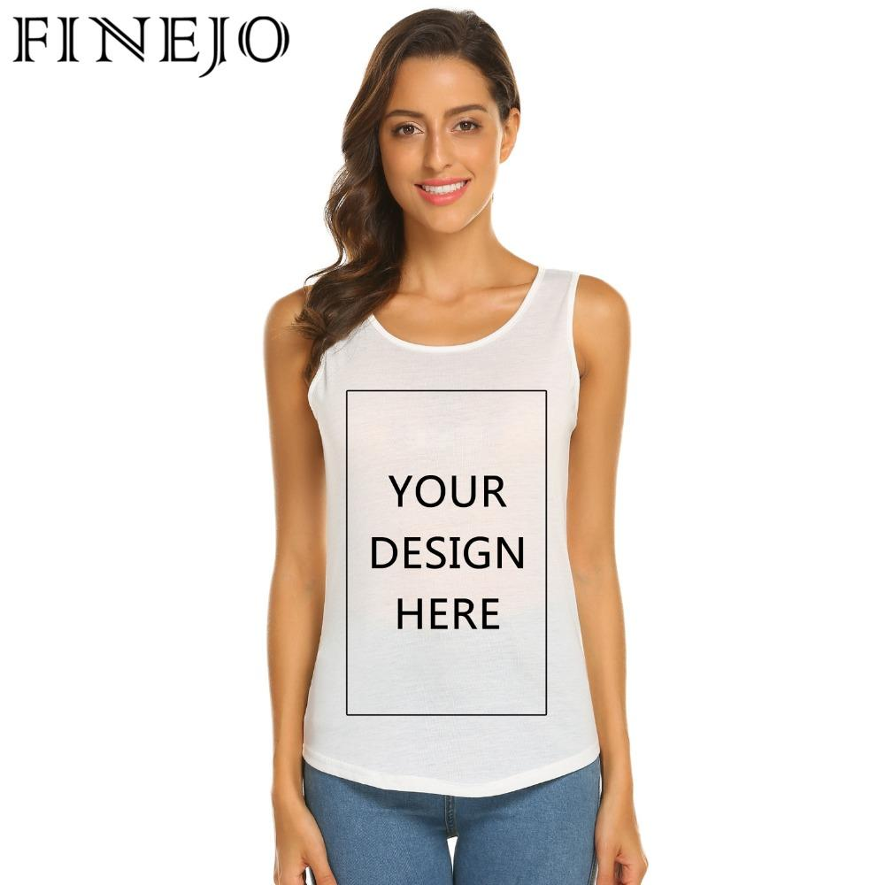 Finejo Women Custom Made T Shirt Casual Diy Solid O Neck Sleeveless