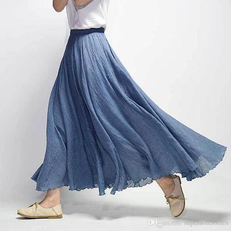 53d45e3dd 2019 2018 Women Linen Cotton Long Skirts Elastic Waist Pleated Maxi Skirts  Beach Boho Vintage Summer Skirts Faldas Saia From Superhotclothes, ...