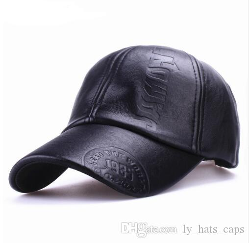 352740b1df4725 New Fashion High Quality Fall Winter Men Leather Hat Cap Casual Moto ...