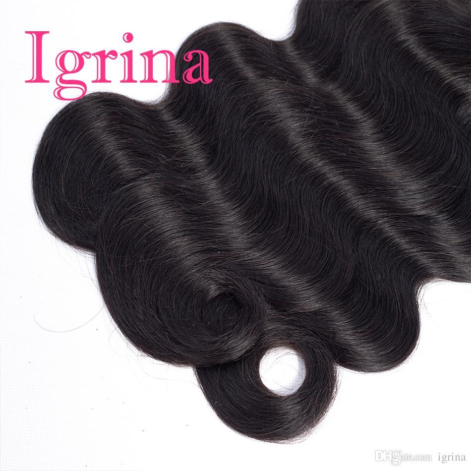 Igrina peruviana vergine dei capelli dell'onda del corpo 4 pacchi con 13x4 chiusura frontale in pizzo con i capelli del bambino tessuto fasci di capelli umani con chiusura frontale