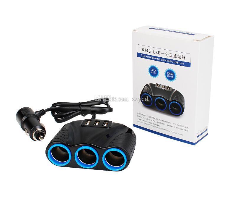 3 wege Zigarettenanzünder Splitter 12V 3.1A Drei USB Ladegerät Netzteil Auto Netzteil