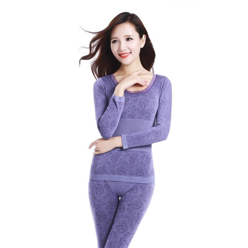 f2bcf2fd4b7d [HEAD BEE] 2018 ropa interior térmica Sexy Ladies Clothes Invierno Seamless  Antibacterial Warm Intimates Imprimir Long Johns para mujeres