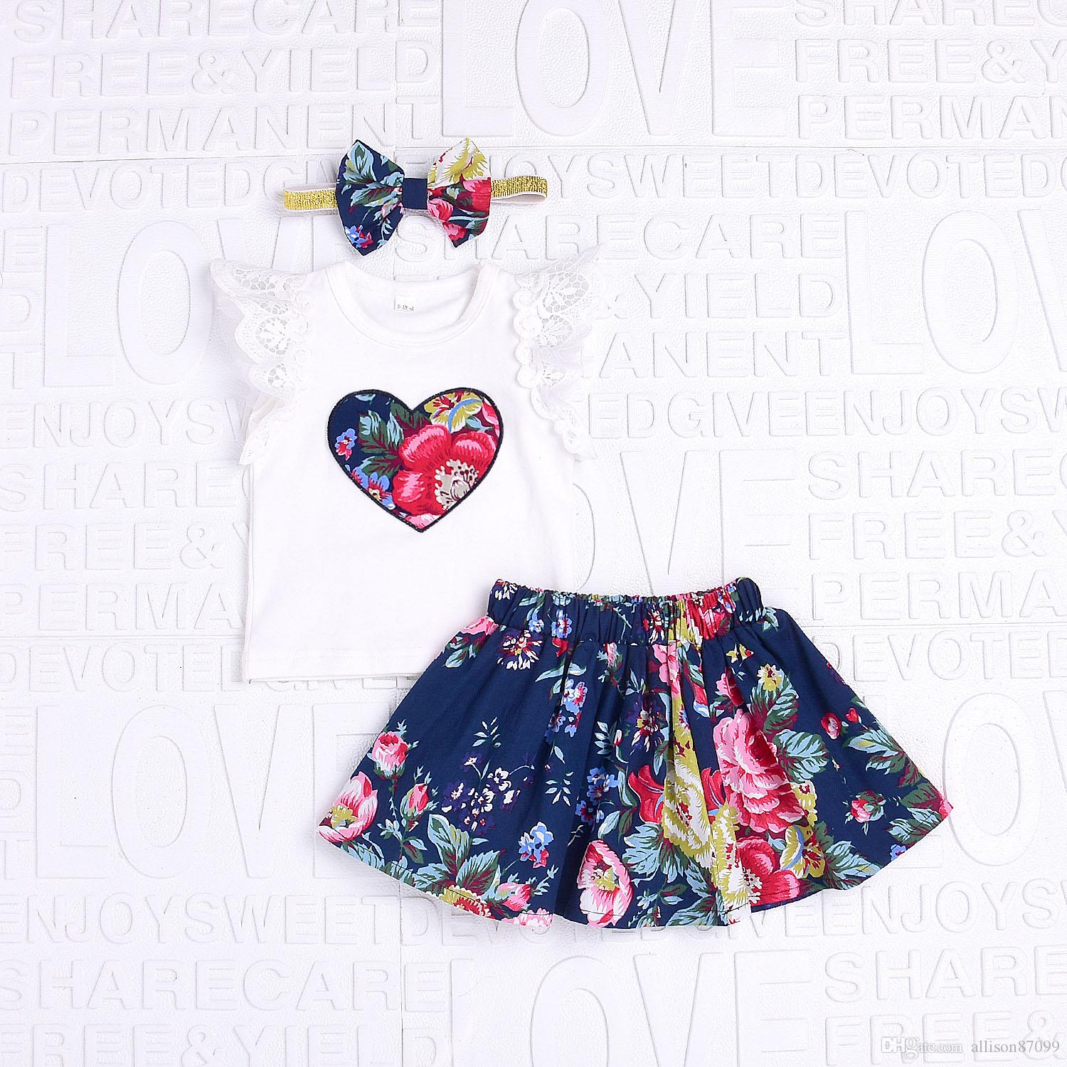 c564fc5682e 2019 2019 Baby Girl Clothing Ins Outfits Retro Floral Romper With Heart  Short Lace Sleeve + Skirt With Bow Headband Summer New Style From  Allison87099