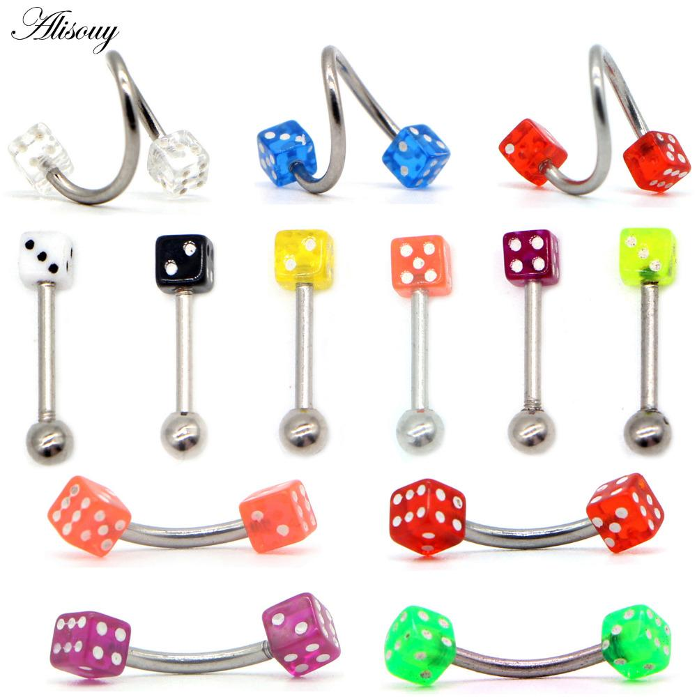 2019 Alisouy Surgical Steel Acrylic Piercings Dice Tounge Rings Bars
