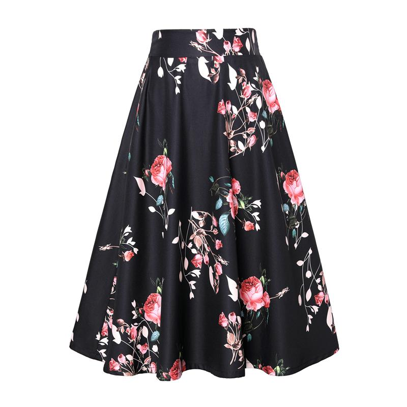 daab2f82bd 2019 2018 Women Black Floral Print Knee Length Skirt Summer Autumn A Line  Skirt Casual Fashion EleSkirts Plus Size 4XL Talever From Roberr, $24.07 |  DHgate.