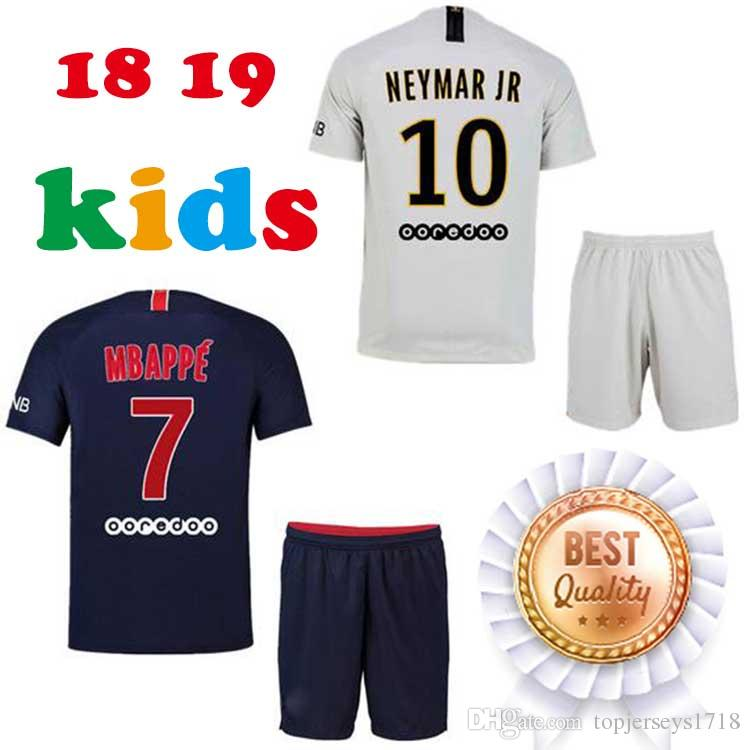 5187339e4 18 19 PsG Boys Soccer Jersey Home Away Custom Name Number Ney Mar 10 Mbappe  7 Top AAA Quality Kids Football Jerseys Paris Soccer Jerseys Online with ...